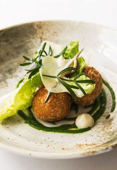 Caesar salad croquettes by Paul Welburn salad salad salad recipes grillen rezepte zum grillen Fingerfood Recipes, Croquettes Recipe, Great British Chefs, Caesar Salad, Appetisers, Food Design, Food Inspiration, Food Photography, Gastronomia