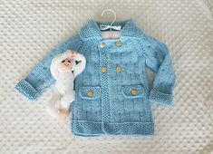 Christopher Robin Jacket ( 1 - 10 years ) -- This is a PDF Knitting Pattern -- Crochet Jacket, Knit Jacket, Chunky Knitting Patterns, Free Knitting, Cardigan Pattern, Baby Cardigan, Christopher Robin, Yarn Projects, Toddler Outfits