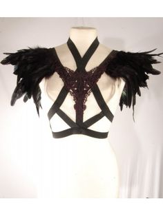SAINT - Black Lace & Feather Cage Bra Top