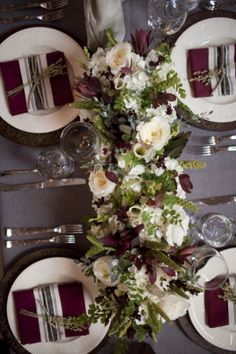 White and burgundy centerpieces