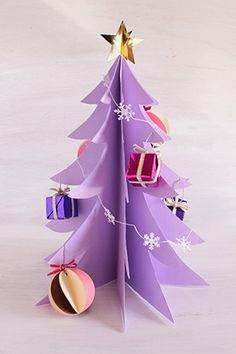 Let's enjoy crafting with children for Christmas … – Wedding Mak Paper Christmas Ornaments, Small Christmas Trees, Christmas Crafts, Diy And Crafts, Paper Crafts, Japanese Origami, Senior Activities, Alternative Christmas Tree, Origami Paper