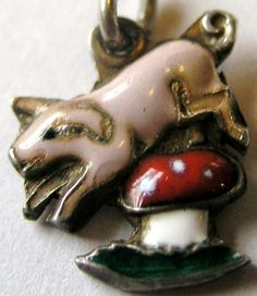 VINTAGE GERMAN SILVER  ENAMEL LUCKY PIG JUMPING OVER TOADSTOOL CHARM