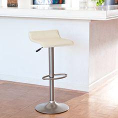 Winsome Adjustable Single Backless Air Lift Swivel Bar Stool - Cream