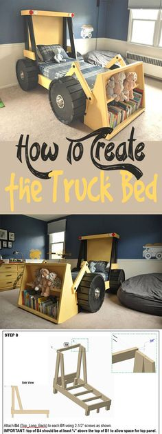 this Construction Truck Bed plan is perfect for a toddler construction themed room! Help your little boy or girl transition from the crib into a bed he or she will actually enjoy sleeping in. They'll love it! | bedroom ideas | bedroom decor | kids bedroom #Ad