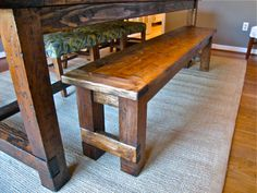 Build yourself a farmhouse bench, and add a little versatility to you dining area! Free #plans at  Ana-White.com #DIY