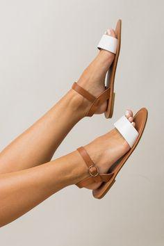 Chesapeake Bay Slingback Sandals in White + Tan | ShopDressUp.com