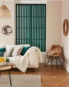 Genesis Blackout Luxe Jade Vertical Blind in Green/Blue. This Vertical Blind includes guarantee and child safety features. House Blinds, Blinds For Windows, Curtains With Blinds, Sliding Panel Blinds, Made To Measure Blinds, Blackout Blinds, Roller Blinds, Shutters, Furniture