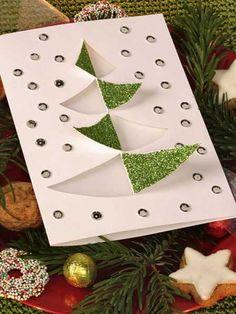 Weihnachtskarten basteln: Weihnachtskarte mit Streuflimmer