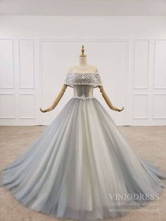 Beaded Gray Tulle Prom Dresses Corset Back Vintage Ball Gown – Viniodress Vintage Ball Gowns, Blue Ball Gowns, Ball Gowns Prom, Ball Gown Dresses, Vintage Dresses, Cheap Formal Dresses Long, Prom Dresses For Teens, Formal Dresses For Weddings, Wedding Dresses