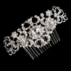 Silver Crystal Rhinestone Bridal Hair Comb - from T's Studio Jewelry