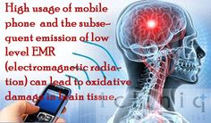 High usage of mobile phone  and the subsequent emission of low level EMR (electromagnetic radiation) can lead to oxidative damage in brain tissue.