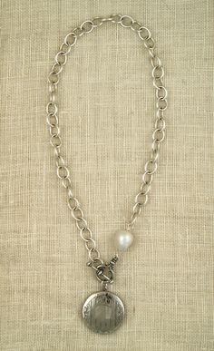 3b8d3234e98f23 sterling cable chain, baroque freshwater pearl and vintage locket necklace  by ExVoto Vintage jewelry.