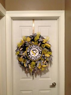 Pittsburgh Penguin deco mesh wreath Penguin by CollectionsbyKG Chevron Ribbon, Sports Wreaths, Wreath Crafts, Pittsburgh Penguins, Deco Mesh Wreaths, Summer Wreath, Artsy, Clock, Sweet