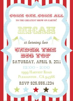 circus or carnival party invite