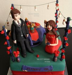Romantic Proposal Cake -- this time the GIRL kneels <3  Cake by TinaScottParashar