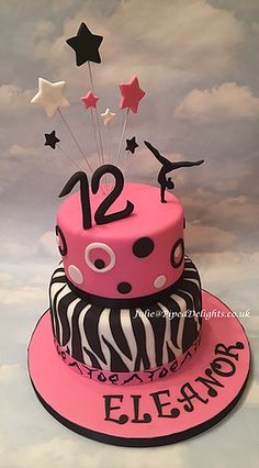 Gymnastics Themed Birthday Cake with Zebra Stripes and Spots. Piped Delights by Julie Cakes Guildford Surrey Novelty Celebration