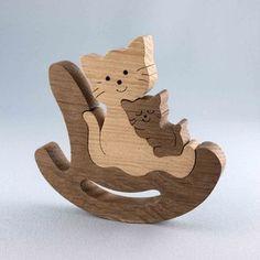 Katzenmutter im Schaukelstuhl Check more at holzspielzeugidee. Intarsia Woodworking, Woodworking Toys, Woodworking Patterns, Woodworking Projects, Wooden Art, Wooden Crafts, Wooden Animal Toys, Wood Toys Plans, Making Wooden Toys
