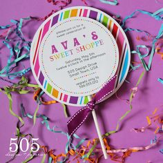 Printable Sweet Shoppe Lollipop Style Invitation by 505 Design. $12.50, via Etsy.