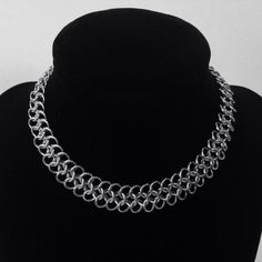 "Thin chainmail choker made using 18g 3/16"" bright aluminum rings.  https://www.etsy.com/shop/JohnsChainmailShop"