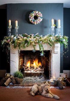 Bertie warming his baubles by the fire. Christmas Fireplace, Farmhouse Christmas Decor, Christmas Mantels, Christmas Wreaths, Merry Christmas, Christmas Home, Christmas Ideas, Xmas, Christmas Candle Decorations