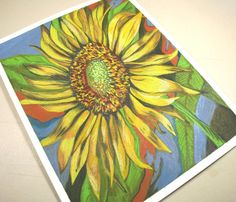 Sunflower Drawing . Color Pencil Art . Flower Art by blueskybeads