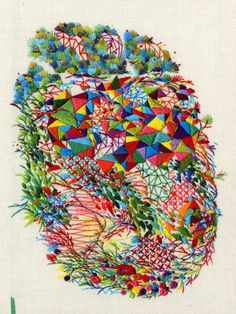 the slow textiles group: Textile Talks Contemporary Embroidery, Modern Embroidery, Embroidery Art, Cross Stitch Embroidery, Embroidery Designs, Geometric Embroidery, Bordado Floral, Art Textile, Illustration