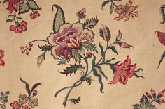 Antique French Indienne printed cotton curtain fabric 19th bed hanging 1850-1880   eBay