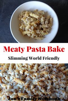A quick and easy Meaty Pasta Bake recipe. Kids favourite. Slimming World friendly. Save leftovers for lunch.