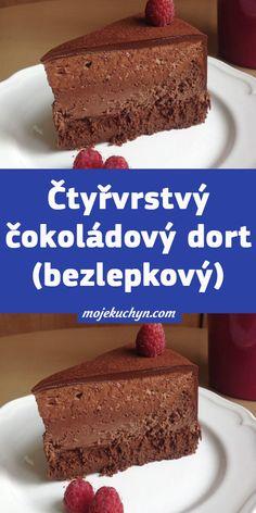 Čtyřvrstvý čokoládový dort (bezlepkový) Cheesecake, Low Carb, Food, Cheesecakes, Essen, Meals, Yemek, Cherry Cheesecake Shooters, Eten