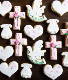 Wednesday Replay: Baptism, First Communion, and Confirmation Decorated Cookies | Bake at 350° Minion Cookies, Fox Cookies, Cut Out Cookies, Cross Cookies, Cookies And Cream Cake, Frozen Cookies, Pumpkin Cupcakes, Pumpkin Cookies, Sugar Cookies Recipe