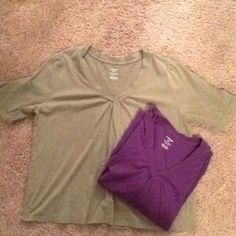 PLUS SIZE (2) 100% Cotton - LB Tees This listing is for two Lane Bryant cotton tee-shirts. One is an Olive Khaki color, the 2nd tee is Purple. Great condition Lane Bryant Tops