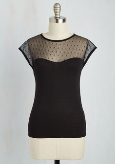 The Answer Is Sheer Top in Black. Life may throw mysteries your way, but one thing thats certain is your sensational style in this noir top! #black #modcloth