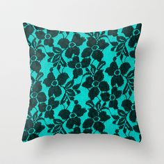 Black lace on blue Throw Pillow by Alice Gosling - $20.00 aqua teal turquoise