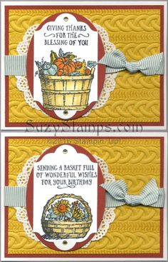 Stampin' Up! Cards - 2016-10 Class - Basket of Wishes stamp set, Cable Knit Dynamic Embossing Folder, Lots of Labels and Layering Ovals Framelits Dies