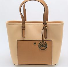 70b6fd1daaf34f NEW Michael Kors Jet Set MD Snap Pocket Nude/Peanut Leather TOTE Handbag # MichaelKors #TotesShoppers