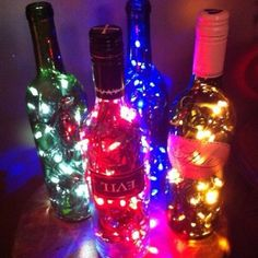 Old wine bottles with Christmas lights inside !