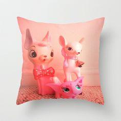 pink deer and elephant Throw Pillow by Vintage  Cuteness - $20.00#pink #vintage #pastel #bambi #doe #deer #fawn #feminine #kitsch #childrens #decor #pillow