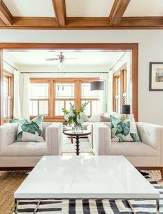 Paint Colours That Go with Natural Wood Trim —Refreshed Designs light wood trim with white walls--I Living Room White, Paint Colors For Living Room, White Rooms, White Walls, Small Living, Modern Living, Stained Wood Trim, Oak Wood Trim, Wooden Trim