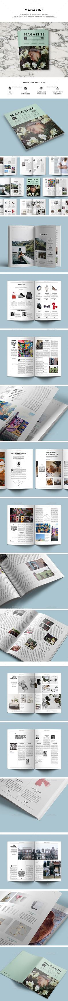Magazine Template InDesign INDD. Download here: https://graphicriver.net/item/magazine-template/17559609?ref=ksioks