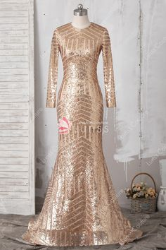 32a808885de Elegant Gold Sequin Lace Long Sleeves Mermaid Prom Dress with Court Train