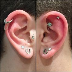 On the left is the helix hoop with chains in white gold, the diamond Delia tragus, CZ and horseshoe studs. On the right is African opal rook, CZ flower helix, CZ and horseshoe studs.