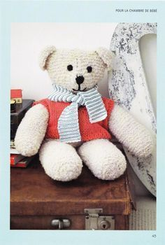 OURS EN PELUCHE AU TRICOT.                                                                                                                                                                                 Plus Patron Crochet, Knit Or Crochet, Knitted Teddy Bear, Knitted Animals, Stuffed Toys Patterns, Projects To Try, Dolls, Diy, Blog