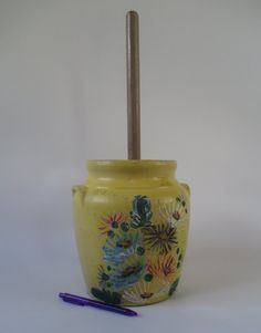 Butter Churn Vintage Up Cycled Ransburg Stoneware by HobbitHouse