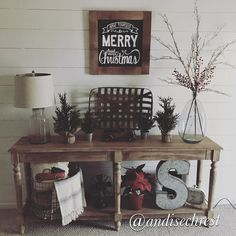 World market Everett foyer table. Farmhouse decor World market Everett foyer table. Christmas Entryway, Christmas Buffet, Christmas Decorations For The Home, Farmhouse Christmas Decor, Christmas Home, Farmhouse Decor, Xmas, Christmas Ideas, Country Christmas