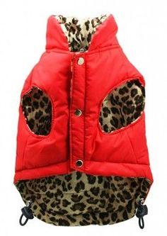 Red Leopard Reversible Puffer Vest