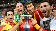 Xavi Hernández, Pepe Reina, Fernando Llorente & Sergio Ramos (Spain)  Xavi Hernández, Pepe Reina, Fernando Llorente and Sergio Ramos pose with the trophy after victory in the UEFA EURO 2012 final against Italy