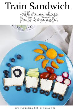 Kanapka Pociąg - Just My Delicious Cute Food, Good Food, Creamy Cheese, Food Crafts, Breakfast For Kids, Fruits And Veggies, Baby Food Recipes, Diy For Kids, Food Art