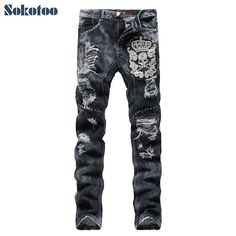 Mens fashion skull crown rivet embroidery ripped jeans Hole patch gray denim pants
