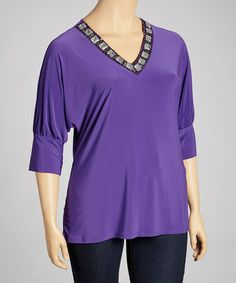 Look what I found on #zulily! Purple Jewel V-Neck Top - Plus by Avital #zulilyfinds