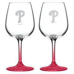 MLB Boelter Brands 2 Pk Wine Glass Set - 12 oz -